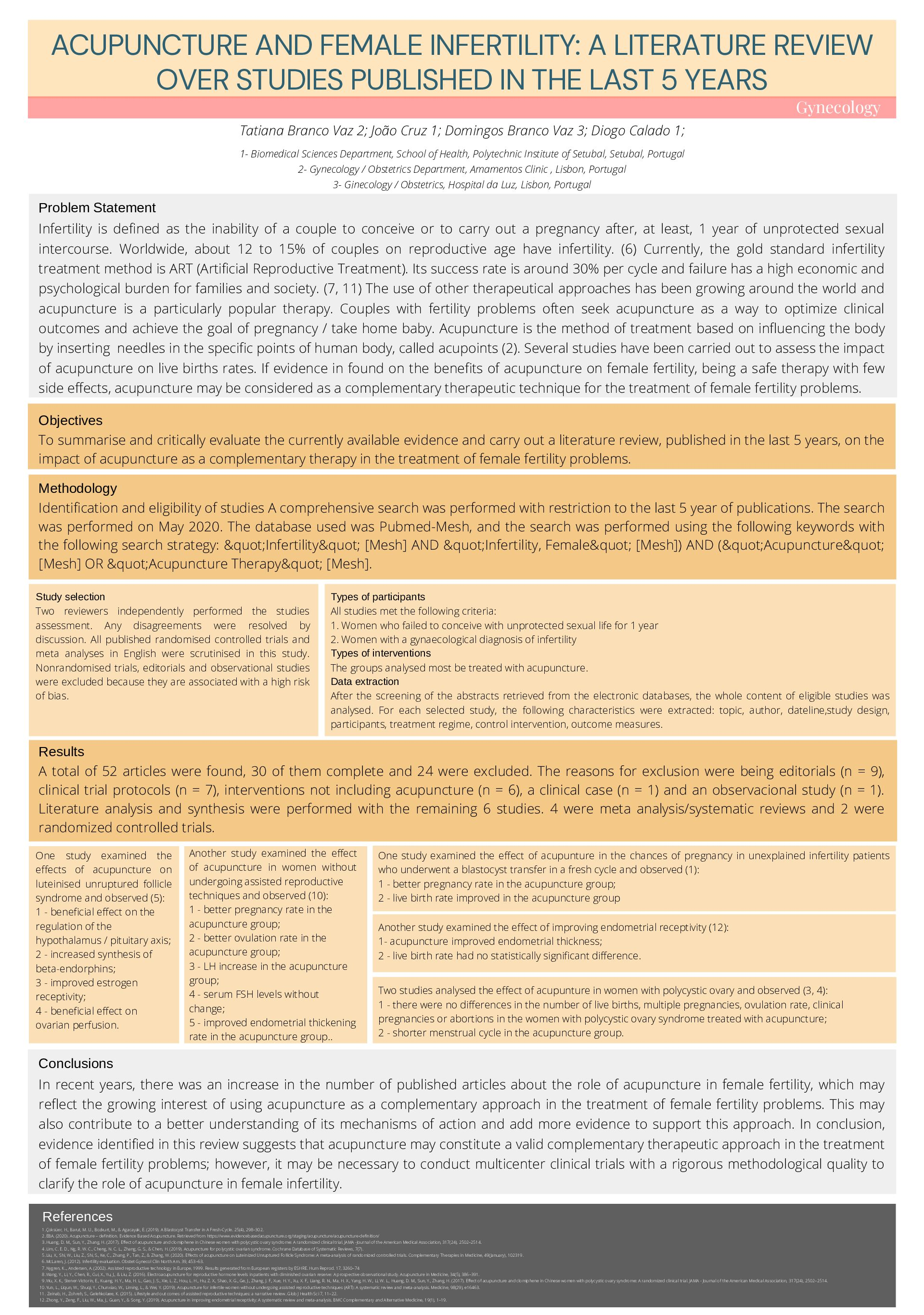 Acupuncture and female infertility: A literature review over studies published in the last 5 years